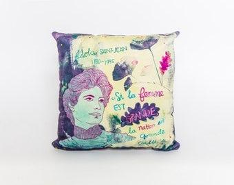 Feminist Idola St-Jean, velvet, colorful, cushion