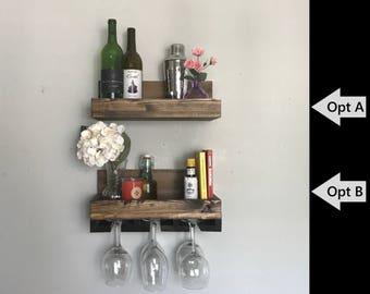 "16"" Rustic Wood Wine Rack    Shelf & Stemware Glass Holder Organizer Ledge Unique Narrow Short"