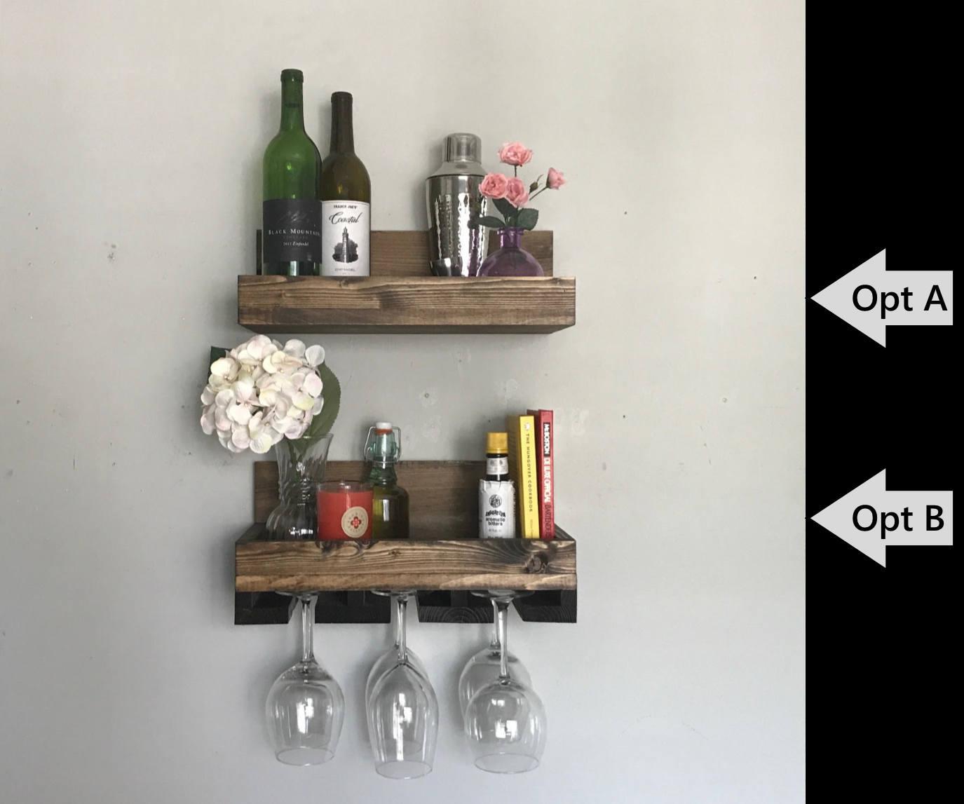 16 rustique bois casier vin tag re verres pied. Black Bedroom Furniture Sets. Home Design Ideas