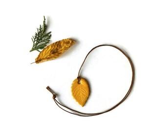 Yellow leaf necklace, Folk leaf pendant, rustic leaf necklace, polymer clay leaf woodland pendant
