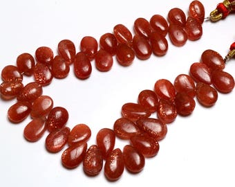Natural Gem  Full stand 9 Inch Strand Super Finest-Quality- SUNSTONE Smooth Pear Shape  Beads Briolettes 11 TO 13 MM Size