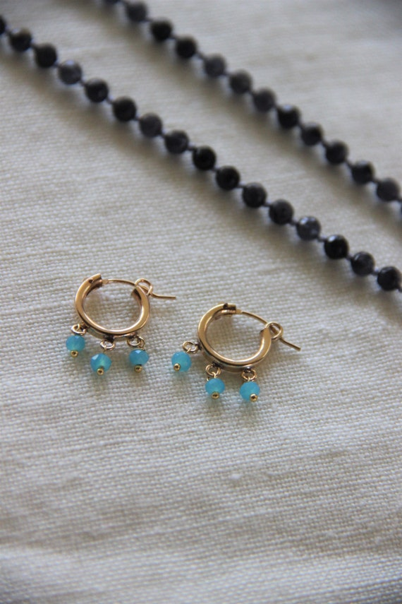 Pretty 14K Gold Filled Gold Hoop Earrings with Ocean Blue Beads Details