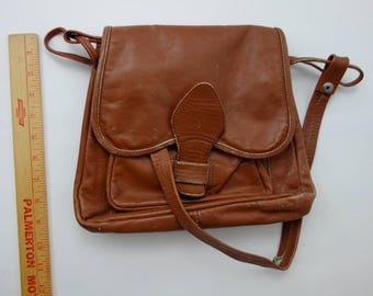 1970s genuine leather brown saddle bag distressed shoulder bag with tons of pockets boho festival hippie folk worn brown leather