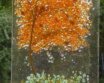 Orange and Brown Tree Fused Glass Suncatcher. Autumn Tree Suncatcher. Fused Glass Art. Wall Art.