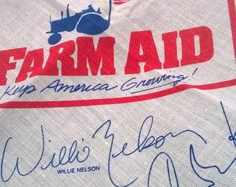 "Vintage ""Farm Aid"" Cotton Bandana Scarf"
