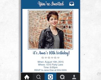 instagram party invitation girl 39 s instagram party. Black Bedroom Furniture Sets. Home Design Ideas