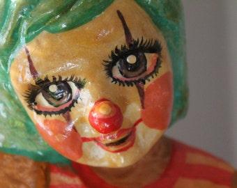 Vintage Paper Mache Clown -Mexican Paper Mache Clown-Mid Century Modern Mexican Folk Art Clown -Large Vintage Paper Mache Clown