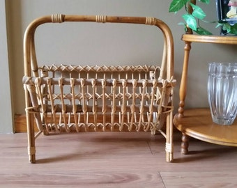 Vintage Rattan Magazine Rack - Mid Century Modern Magazine Rack - Tropical Theme Room Decor