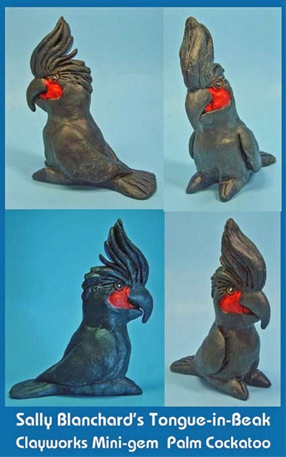 PALM COCKATOO Parrot Tongue-in-Beak Mini-gem by Sally Blanchard