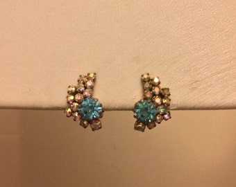 Clip on Earrings: AB Clear and Aqua Blue Diamanté Clip on Earrings