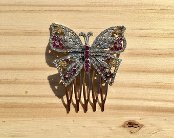 Butterfly Hair Clip: Vintage Pink and Yellow Silver Tone Butterfly Bridal Comb