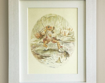 "BEATRIX POTTER Print, New Baby/Birth, Nursery Picture Gift, *UNFRAMED* Lovely Birth or Christening Gift, 10""x8"",  The Tale of Jeremy Fisher"