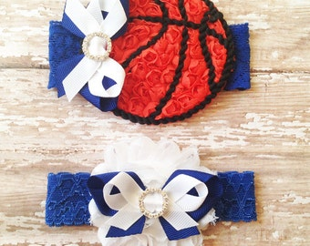 Basketball Garter Set | Blue and White Wedding Garters | Bridal and Toss Garter | Customize Your Colors to Match Your Favorite Team