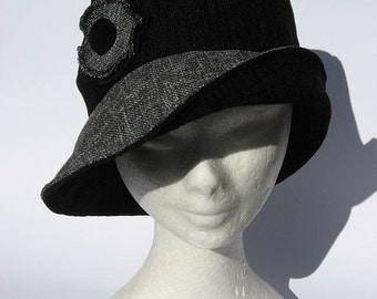 women's hat, handmade, Audrey style, grey
