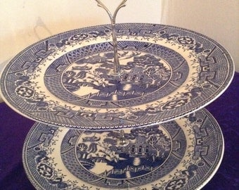 2 tier cake stand with Old Willow pattern plates