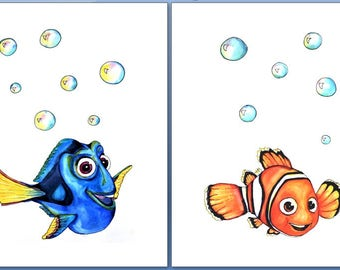 Bedroom Bathroom Decor Disney Prints Finding Dory Finding Nemo Set Of
