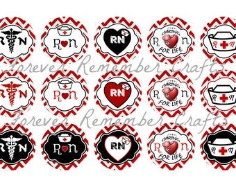INSTANT DOWNLOAD RN Nursing 1 Inch Bottle Cap Image Sheets *Digital Image* 4x6 Sheet With 15 Images