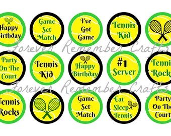 INSTANT DOWNLOAD Tennis Birthday 1 Inch Bottle Cap Image Sheets *Digital Image* 4x6 Sheet With 15 Images