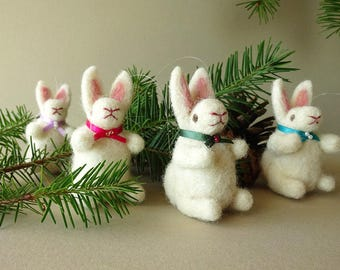 Holiday Ornaments, Christmas Decoration, Felted Miniature, Tree Ornaments, Needle Felted Bunny Rabbits, Handmade Christmas, Holiday Decor