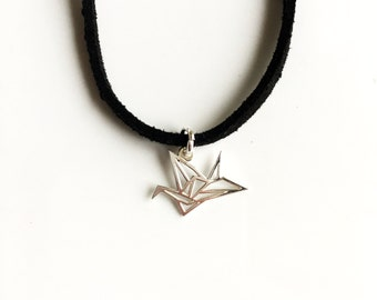 Choker | sterling silver origami bird