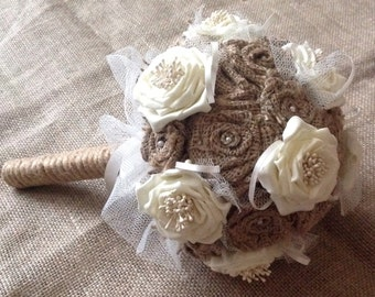 Hessian (Burlap) Wedding Bouquet with Ivory/Cream Accessories