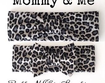 NEW! Mommy and Me Gray Leopard Headbands - Baby headband - Adult headband