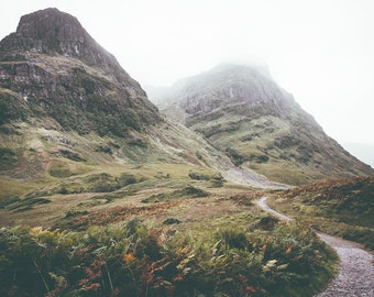 Path To The Mountains of Glencoe, Scottish Landscape Print. Ideal Outdoor Wall Art or Decor