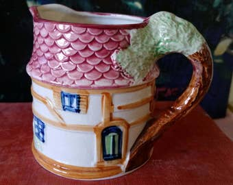 Vintage Cottage Ware Creamer, Syrup Pitcher, or Toothbrush Holder, Shingled Roof Made in Japan 1940s 1950s