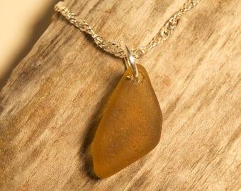 Sea Glass Pendant - Yellow/Amber - Authentic