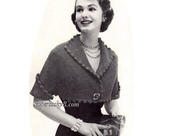 Vintage Bulky Shrug knitting pattern in PDF instant download version