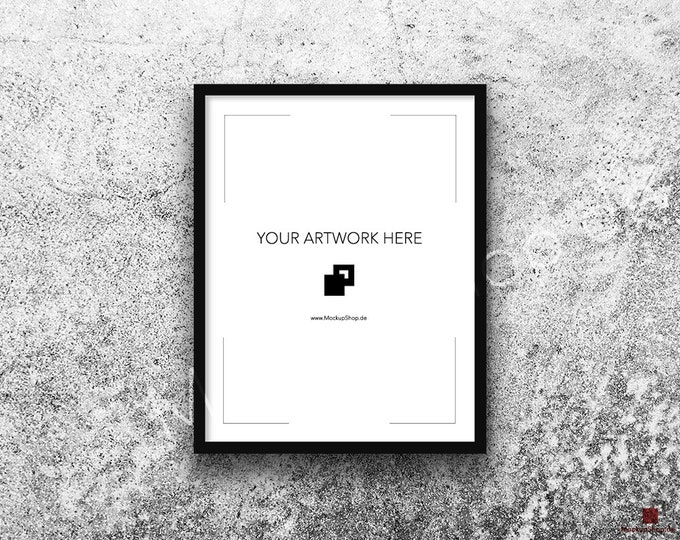 11x14 FRAME MOCKUP BLACK / Styled Photography Poster Mockup, old white stone wall Background, Framed Art, Instant Download / Frame Mockup