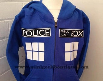 Tardis hoodie, Police Box, Hoodie, dr who inspired, time lord, public call box, zipped hoodie, geek, , tardis, whovian, timelord, doctor who