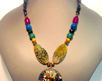Multicolored Mandala necklace