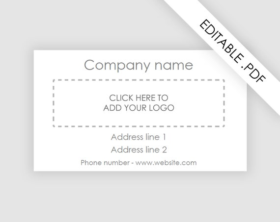 Business Card Pdf Template One Sided Instant Download - Business card pdf template