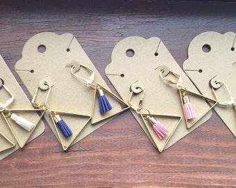 Colored Tassles in Metal Triangles- Earrings