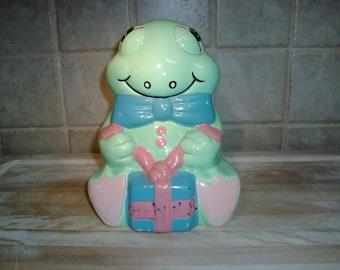 Vintage 1991 Artmart ceramic 7 inch cute frog piggy bank