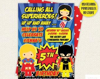 Girl Super Hero Birthday Invitation, supergirl birthday, hero birthday party, superhero party, Printable Superhero