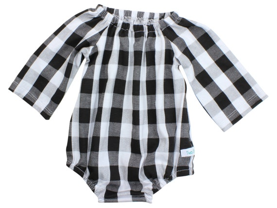 Black White Buffalo Plaid Baby Romper Long Sleeve Toddler Romper with Snaps Peasant Dress Outfit Buffalo Plaid Dress Black and White Winter