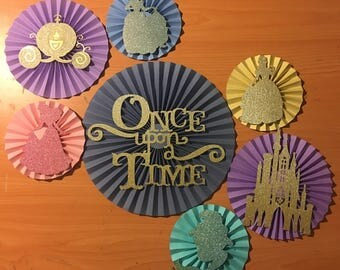 7 pink , blue , purple yellow paper rosette,once upon a time, dosney princess inspired paper rosette, paper fan , pinwheel, backdrop