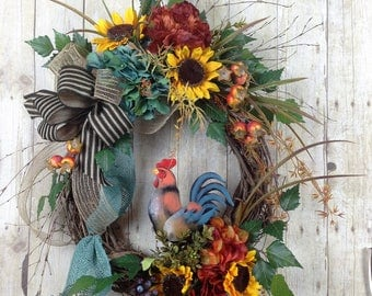 Spring Wreath for Front Door, Summer Wreath, Rooster Wreath, FarmHouse Decor, Sunflower Wreath, Hydrangea Wreath, Year Round Wreath,