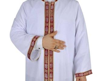 Berra Muslim Long Kurta XS, S, L, XL Bordured Thobe, Galabiyya, Jubbah, Disdashas, Cubbe, Islamic Clothing for Men, Sunnah Wear