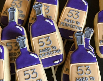 12 AGED TO PERFECTION wine bottle cookie - customize it - birthday - dinner- favors- bridal shower -champagne bottle -vintage- over the hill