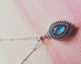 Sterling silver prayer box necklace with labradorite