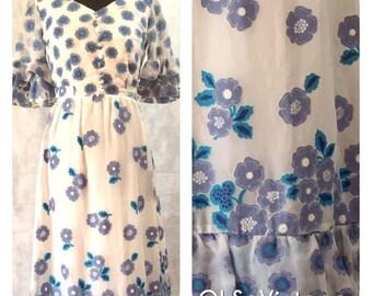 Vintage 60s Betty Barclay Designer Wedding Dress Boho Hippy Festival Dress Blue Floral Print 8/10