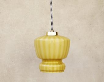 VINTAGE OPALINE LIGHT, cased pendant lamp, mustard pendant light, textile cable, mid-century ceiling light, kitchen light, table light,