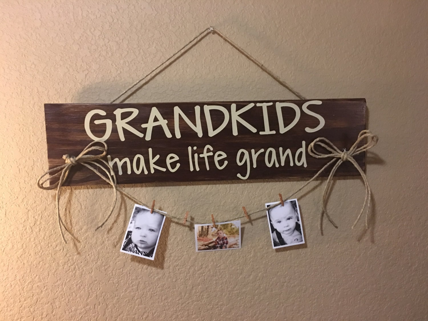 Grandkids Make Life Grand Hanging Wooden Sign With Clips To