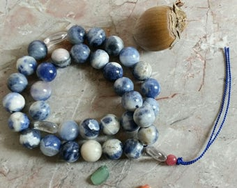 Mala-Sodalite/Quartz/Rhodocrosite 36 Bead for Meditation, Reflection, and 'Keeping the Faith'.  Called 'Glory-Us' for upliftment and joy!