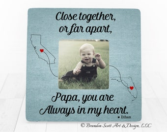 Father's Day Gift for Papa, Grandfather Gift, Gift for Papa, Personalized Picture Frame, Long Distance Gift, Close Together or Far Apart