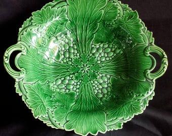 Vintage 19th Century Green Majolica Pedestal Compote - Beautiful!