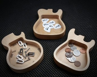 Wooden Guitar Shaped Pick, Part, and Change Trays